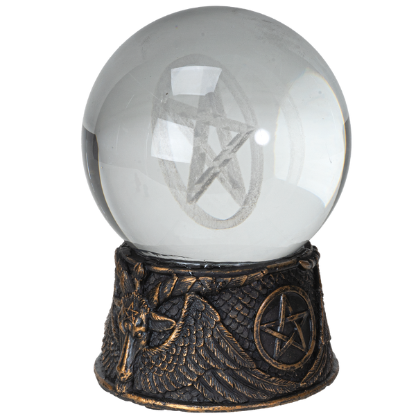 Pacific Giftware Lighted LED Sphere Ball with Gothic Baphomet Resin Base Home Decor