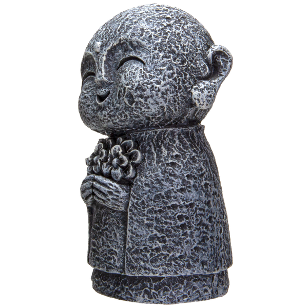 Eastern Enlightenment Happy Japanese Jizo Monk Holding a Batch of Flowers Resin Figurine
