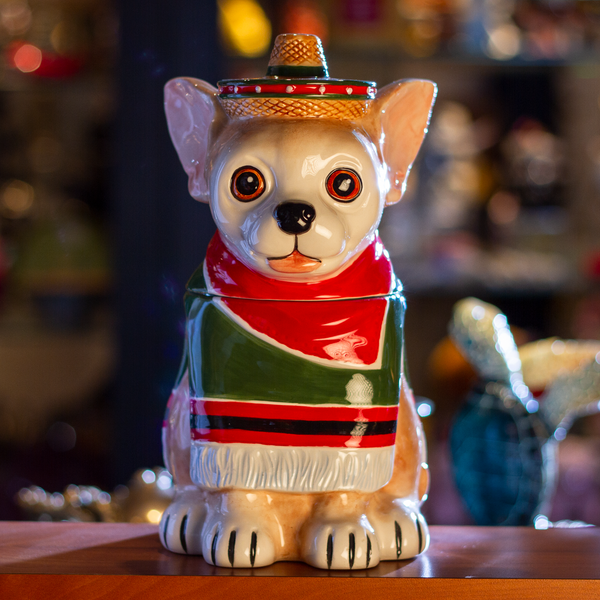 Festival Loving Chihuahua Wearing a Traditional Mexican Poncho Ceramic Cookie Jar