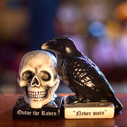 """Quoth The Raven"" Halloween Ceramic Salt and Pepper Shakers Set"