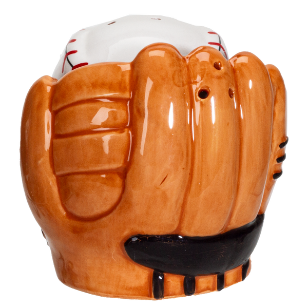 Baseball Caught in a Mitt You're OUT Ceramic Salt and Pepper Shakers Set