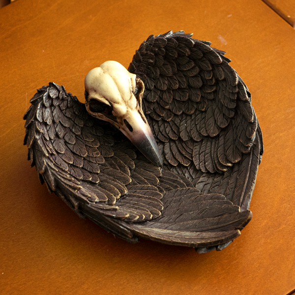 Undead Cross Winged Raven Skull Decorative Gothic Resin Dish