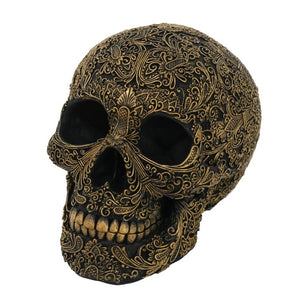 Black Carved Skull with Gold Flower Arrangement Outlines Resin Figurine Home Decor Statue