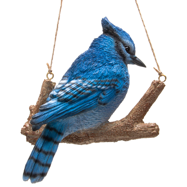 Hanging Blue Jay Bird Perching on Branch Resin Figurine Sculpture