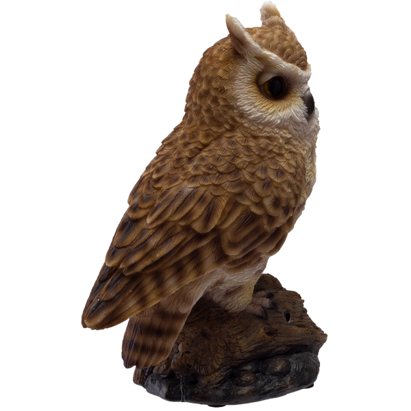 Eagle Owl Perching on Branch with Singing Bird Sound Collectible Figurine