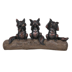 See Hear Speak No Evil Foxes Perching on Wood Branch Resin Figurine