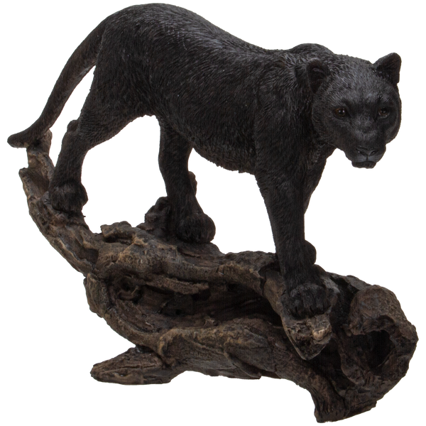 Realistic Black Cat Panther Perching on Tree Branch Decorative Resin Figurine Statue