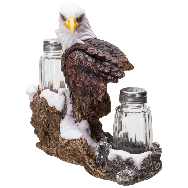 American Bald Sea Eagle Spiritual Realistic Decorative Glass Salt and Pepper Shakers Set with Resin Holder Stand