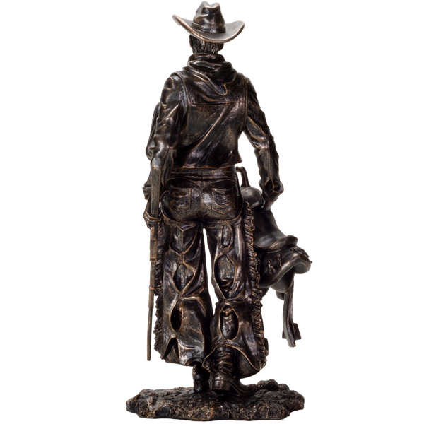 American Cowboy with Gun and Saddle Resin Figurine Home Decor Collectible