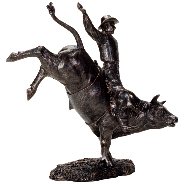 American Cowboy on Bull Resin Figurine-Bronze Finish