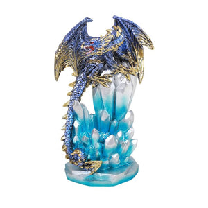 Fantasy Guarding Dragon on Crystal Gemstone Rock Figurine Statue Home Decor Collectible