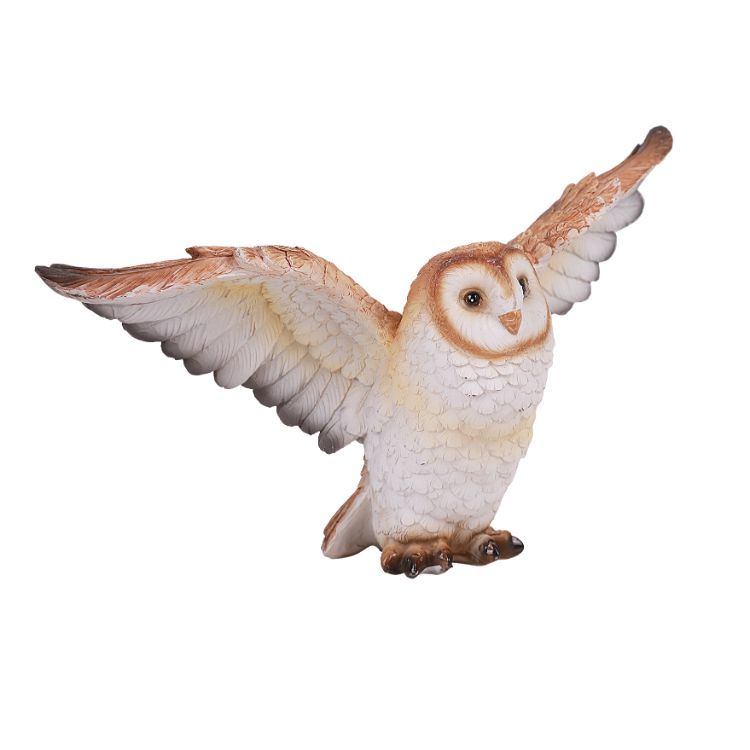 Animal World Flying Open Wing Barn Owl Resin Figurine