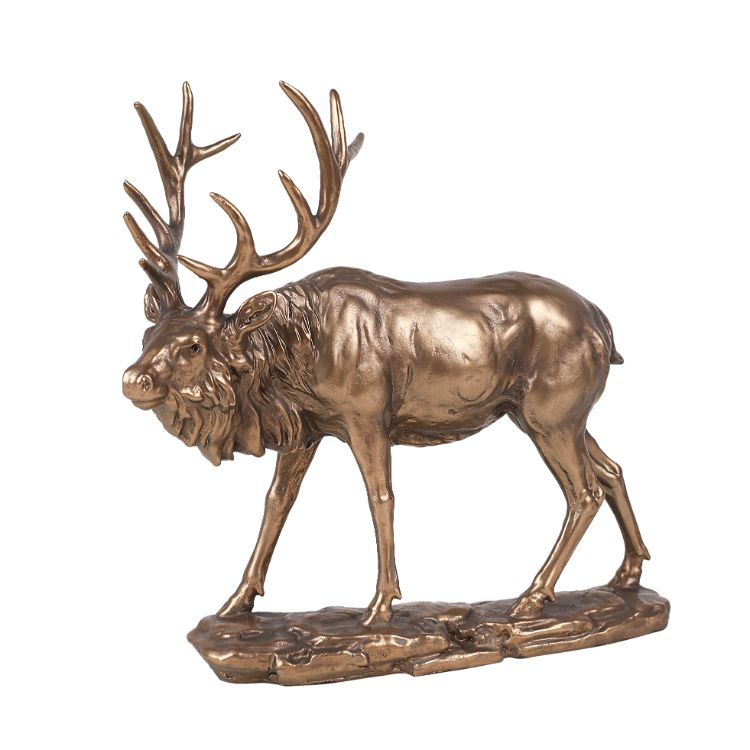 Animal World Elk Golden Finish Resin Figurine