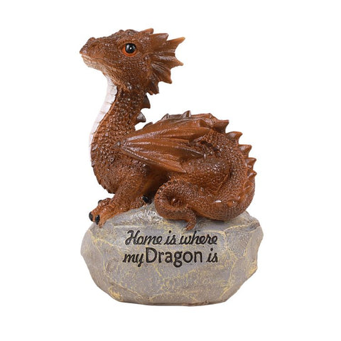 """Home is where my dragon is"" Baby Dragon on Rock Resin Figurine"