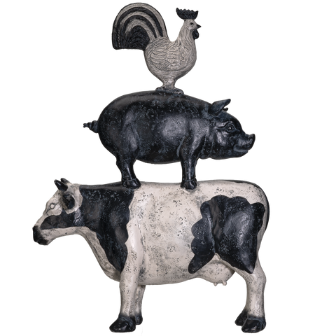 Pacific Giftware American Art Animal Farm Barnyard Stacked Animal Resin Figurine Statue (Cow/Pig/Chicken)