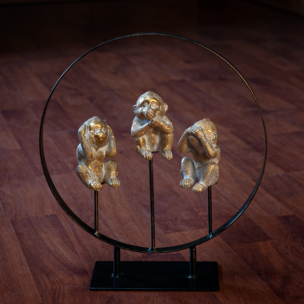 See Hear Speak No Evil Monkeys Resin Figurine with Stand