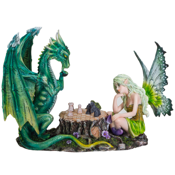 FairyTate Fairy vs. Dragon Chess War Game Resin Figurine Statue