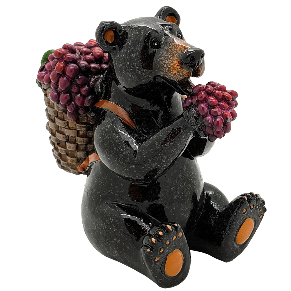 Animal World Black Bear Berry Picking Farmer Resin Figurine Home Decor