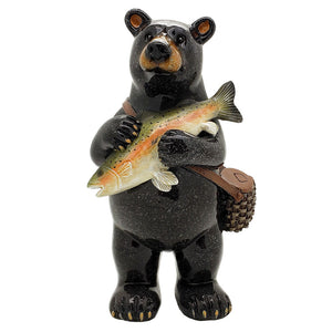 Animal World Black Bear Fisherman 6.5 inches Tall Resin Figurine Home Decor