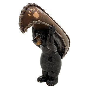 Animal World Black Bear with Canoe Ready to Play Resin Figurine