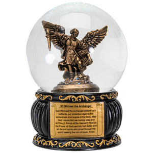 St.Michael Water Globe with the Prayer Message 100MM