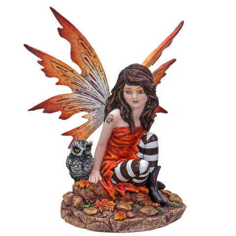 Fairyland Red Winged Fairy with Baby Owl Statue Figurine