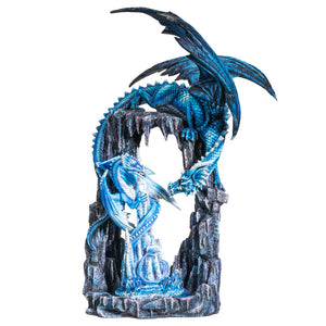 20 Inches Dual Blue Dragon on Cave Collectible Home Decor Figurine