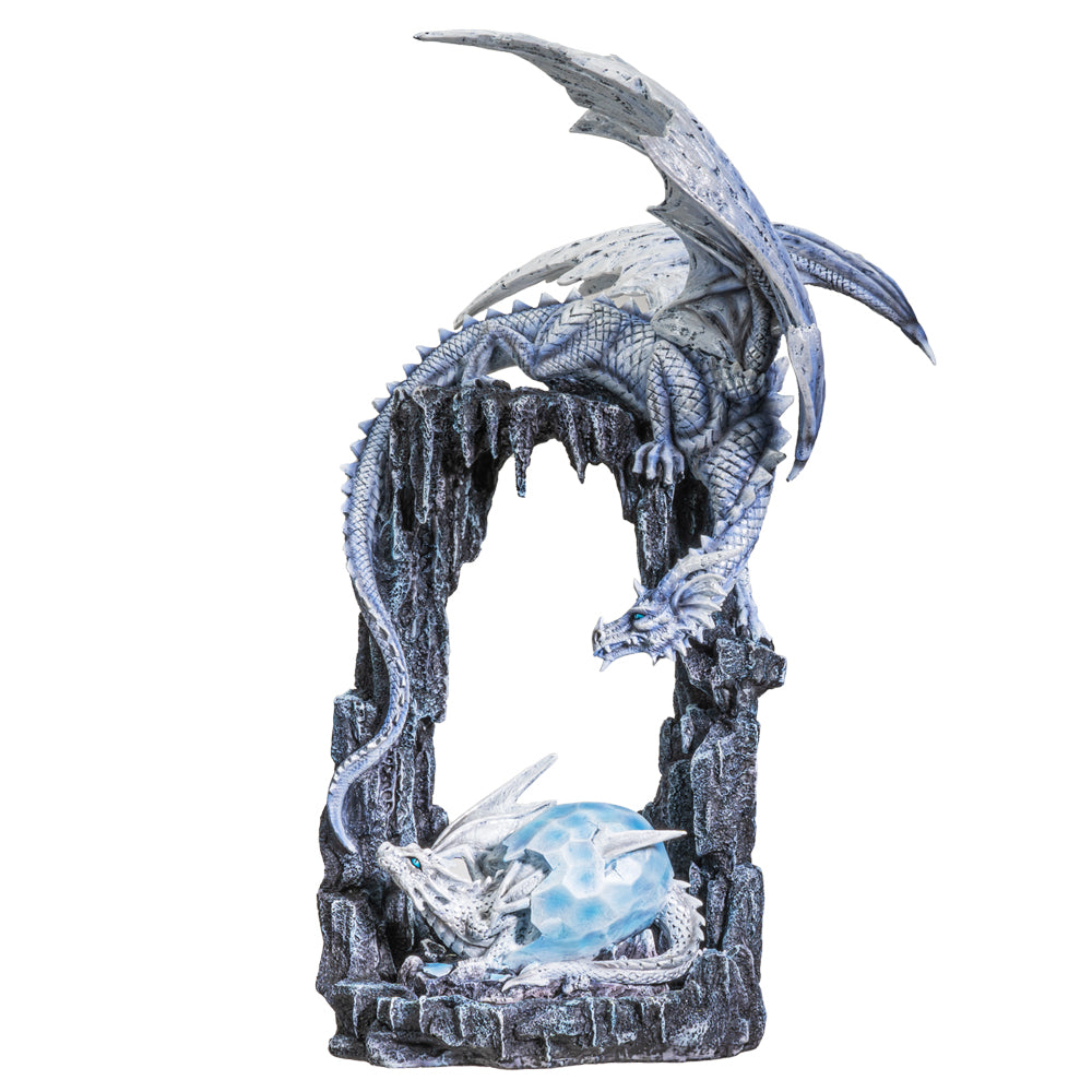 Fronze Ice Dragon Mother and Baby Hatchling in Egg Resin Statue Collectible Home Decor Figurine
