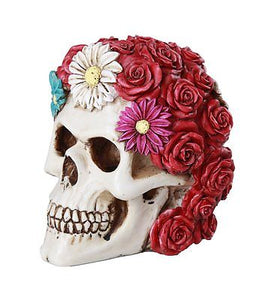 "Floral Red Rose Skull Eternal Love Skull Collectible Figurine 5""Love Tribute"