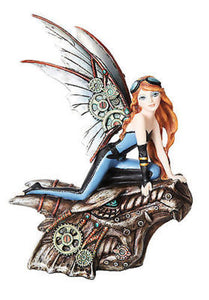 Steampunk Fairy Mechanical Dragon Head Statue Flight Figurine Gears