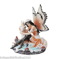 Elegant Winter Fairy with Unicorn Statue Home Decor Figurine Snow