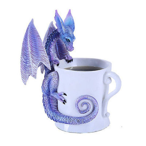 Amy Brown Watcha Drinking Coffee Fantasy Art Statue Tea Cup Mystical Dragon