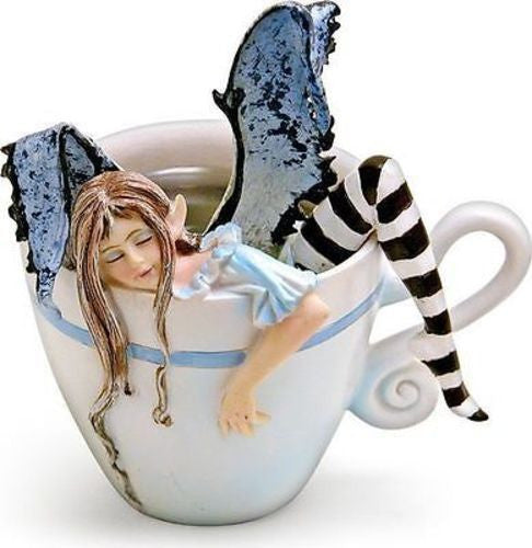 Amy Brown I Need Coffee Faery Fantasy Art Statue Coffee Cup Sleepy Fairy