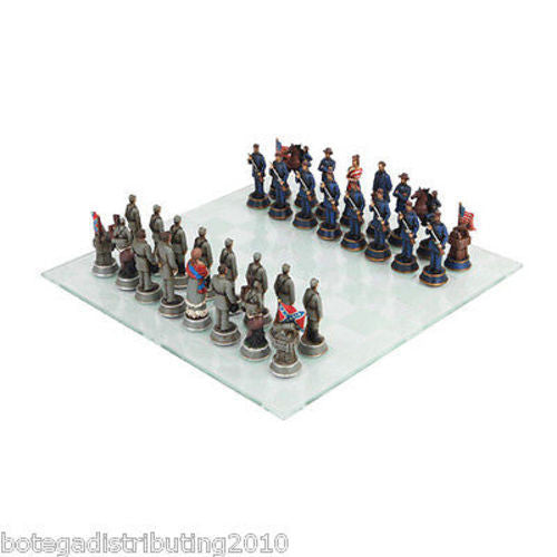 American Civil War Chess Set Chess Pawns Glass Board Union Confederate States