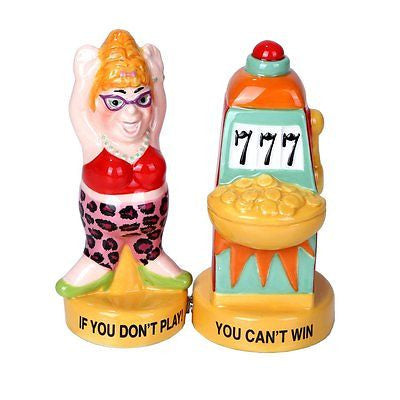 Lucky Casino Slot Machine Winner Ceramic Magnetic Salt and Pepper Shaker Set