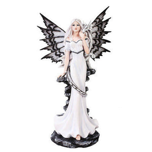 "Large 21"" White Night Fairy Standing With White Dragon Statue"
