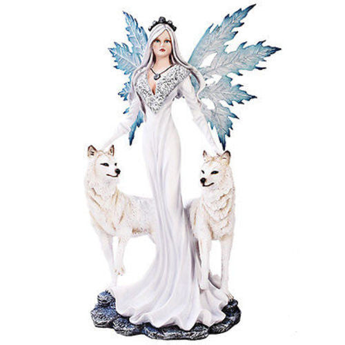 Large Ice Princess Fairy Snowflake Wings with Protecting Wolves Statue