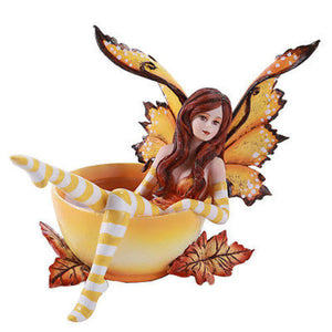 Amy Brown Autumn Comfort Leaf Faery Statue Spice Tea Cup Fairy Fall Leaves