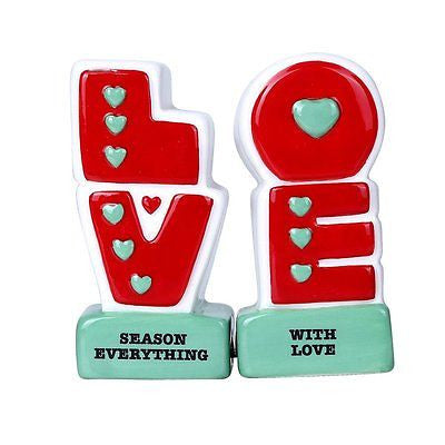 L.O.V.E Season Everything with Love Ceramic Magnetic Salt and Pepper Shaker Set