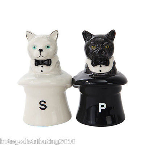Ceramic Cat In the Hat Magnetic Salt and Pepper Shaker Magic Hat Gato Magico
