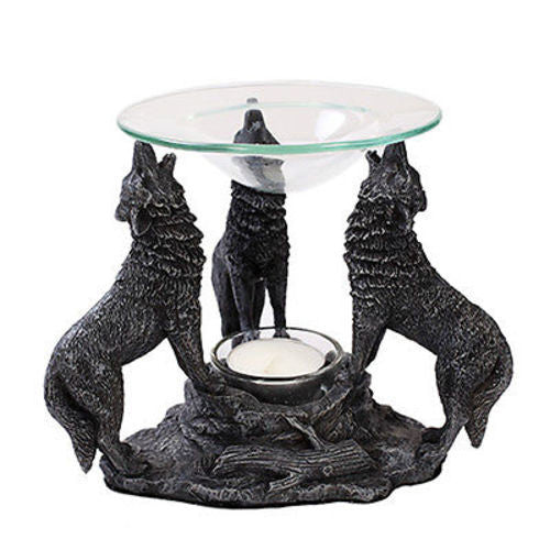 Howling Wolves Tea Light Oil Burner Diffuser Statue Protector Guardian Campfire Wolf