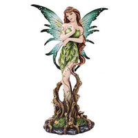 Forest Green Earth Fairy Statue Tree Leaves Fairyland Legends Fantasy Magical