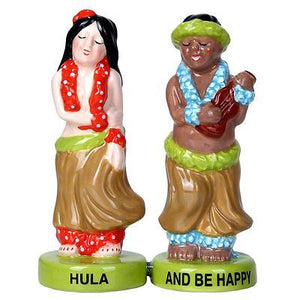 Hawaiian Hula Dancer Ukulele Musician Ceramic Magnetic Salt Pepper Shaker Set