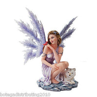 "14"" Purple Snowflake Winter Fairy Figurine Wolf Statue Red Robin"