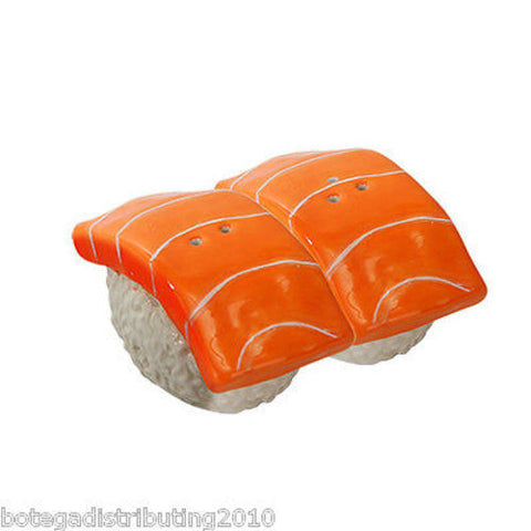 Salmon Sushi Japanese Ceramic Magnetic Salt and Pepper Shaker Set