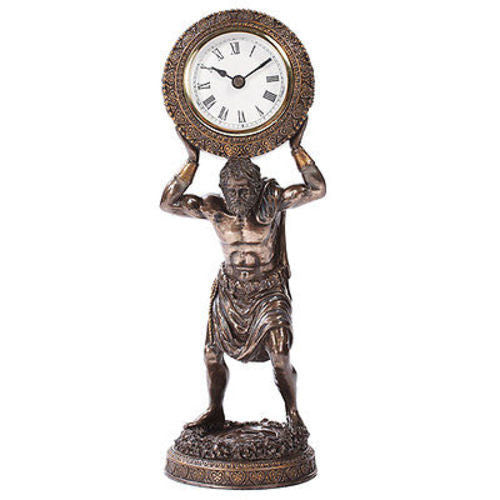 Atlas Desk Clock Bearing The Globe Sculpture Greek God Titan Bronze Office