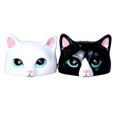 Peeking Cats Ceramic Magnetic Salt and Pepper Shaker Set