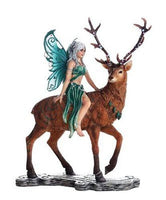 Decorative Companion Fairy Ayala with Stag Collectible Decorative Statue 9.5H