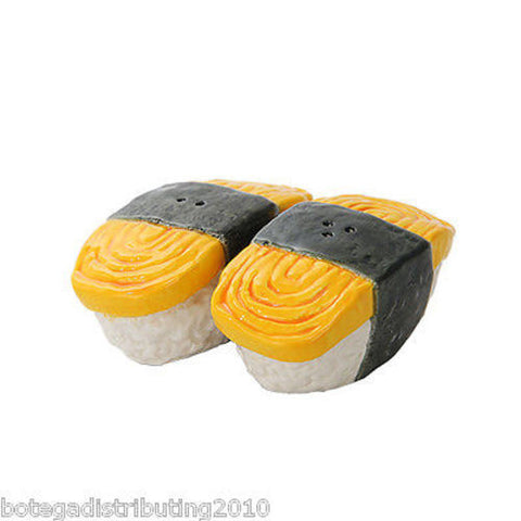 Tamago Sushi Japanese Ceramic Magnetic Salt and Pepper Shaker Set