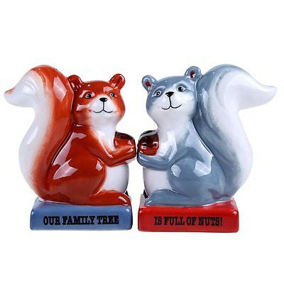 Squirrel Family Tree Full of Nuts Ceramic Magnetic Salt and Pepper Shaker Set